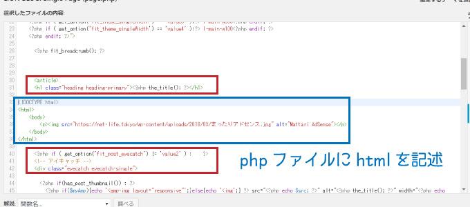 phpファイルにhtmlを記述